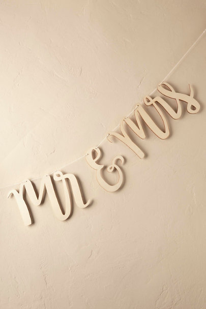 Cedar Scripted and Carved Mr. & Mrs. Banner | BHLDN