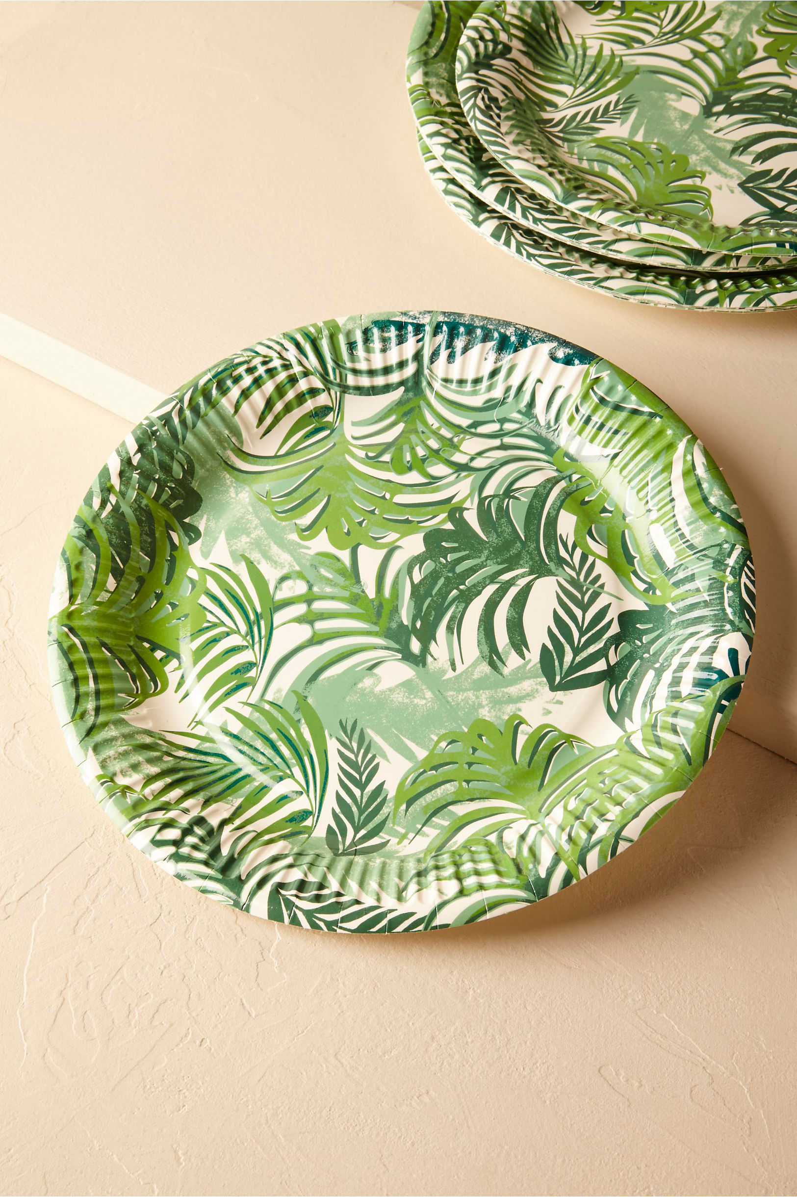 Green Tropical Palms Paper Plates (12) | BHLDN & Tropical Palms Paper Plates (12) in Sale | BHLDN