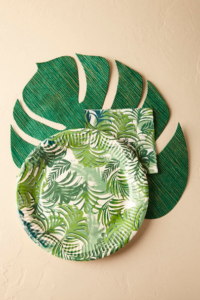 Green Tropical Palms Paper Plates (12) | BHLDN