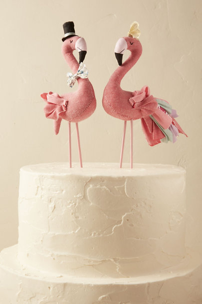 Abigail Brown Rose Mr. & Mrs. Flamingo Cake Topper (2) | BHLDN
