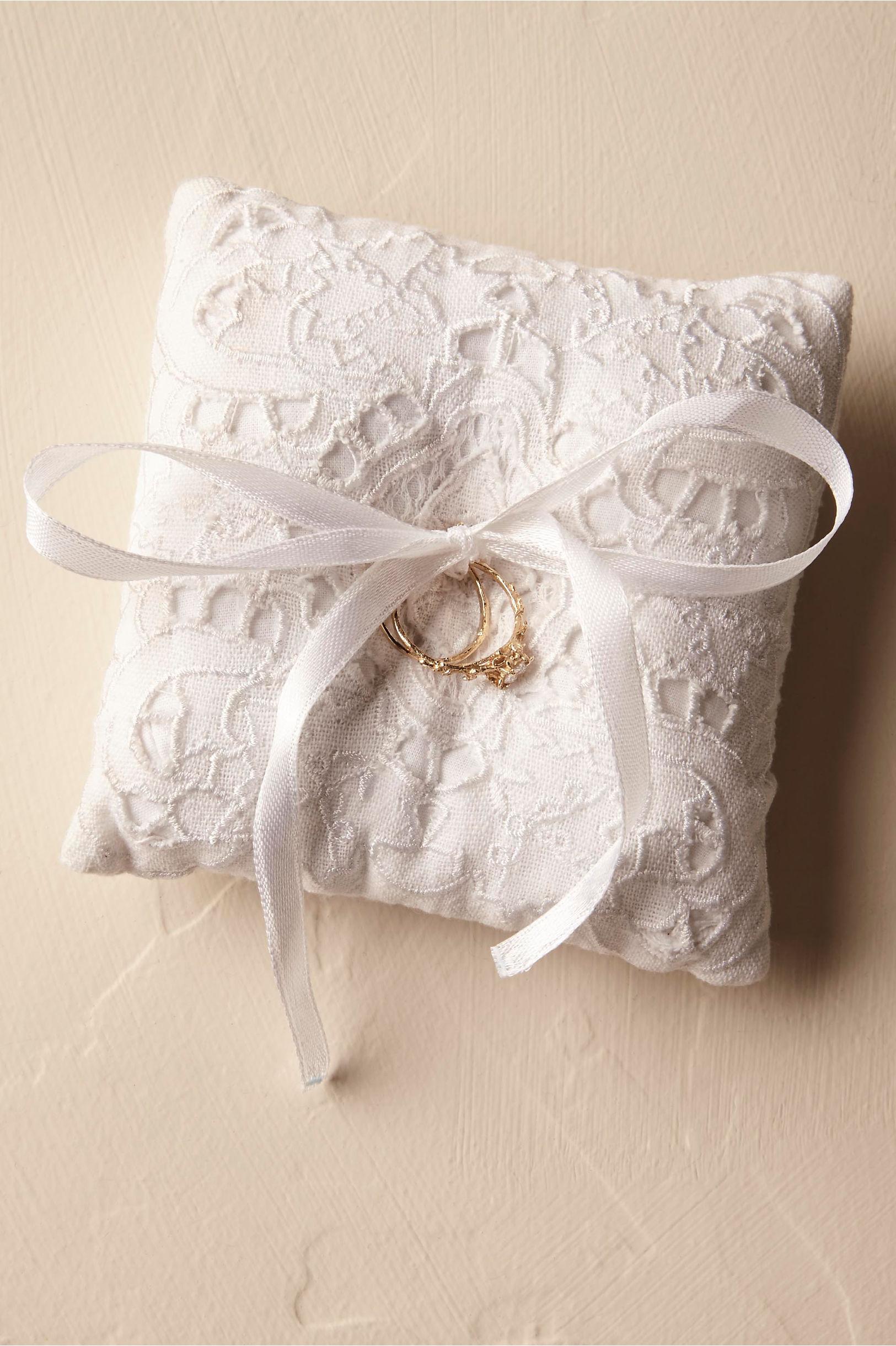 White Eyelet Ring Pillow in Décor