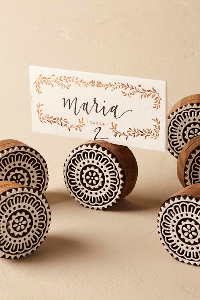 Brown Woodblock Placecard Holder (6) | BHLDN