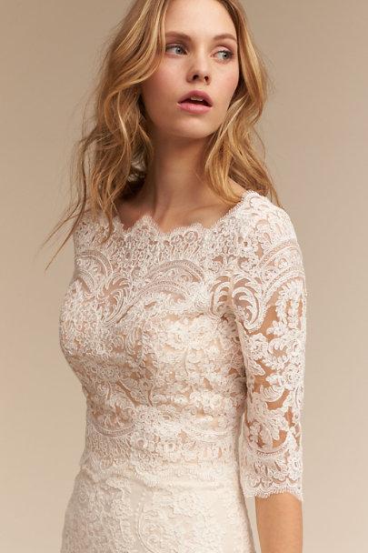 Capri top ivory cream in bride bhldn for Long sleeve wedding dress topper