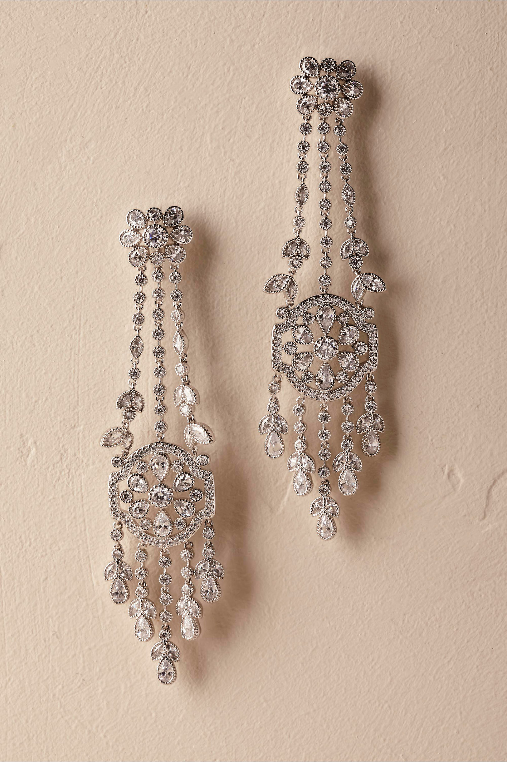 Silver Brinda Chandelier Earrings Bhldn