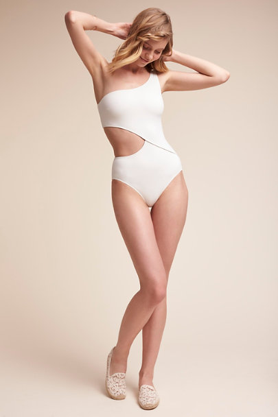 Solid + Striped White Curacao One-Piece Swimsuit | BHLDN