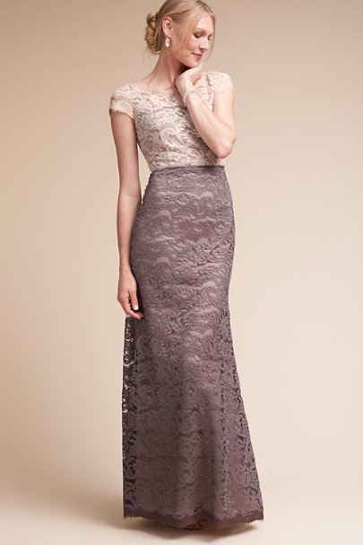 Adrianna Papell Eggshell/Sable Ace Dress | BHLDN