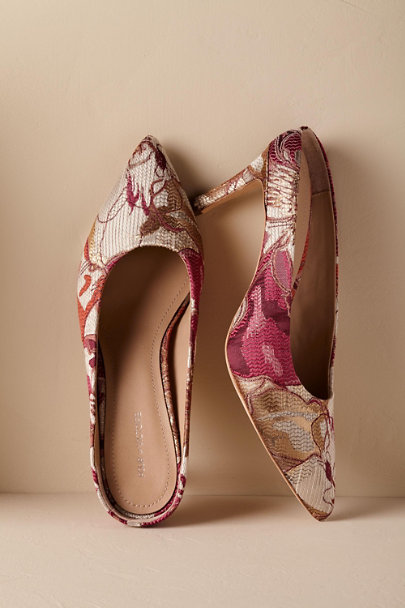 Pour La Victoire Red/Pink Motif Romie Brocade Mules | BHLDN