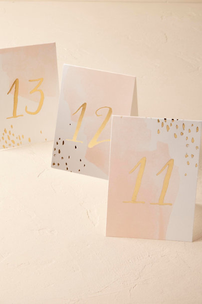 Pink Blush Brushstrokes Table Numbers (10) | BHLDN