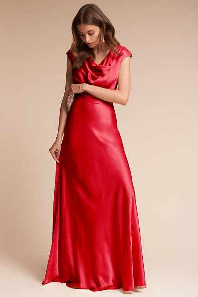 Ghost London Chilli Red Gloss Dress | BHLDN