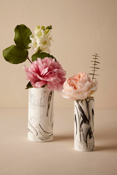 White Marbled China Vases  | BHLDN