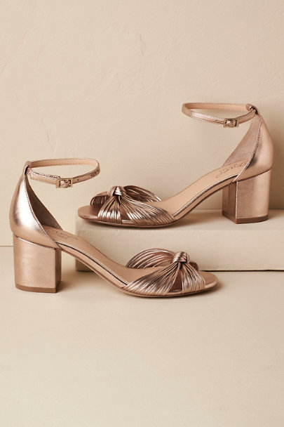 Badgley Mischka Rosegold Lacey Block Heel Sandals | BHLDN