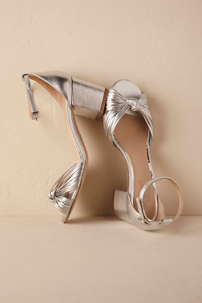 Badgley Mischka Silver Lacey Block Heel Sandals | BHLDN