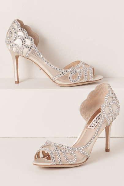 Badgley Mischka Ivory Badgley Mischka Marla Peep-Toe Heels | BHLDN