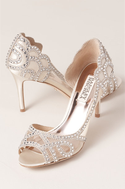 Badgley Mischka Ivory Marla Peep-Toe Heels | BHLDN