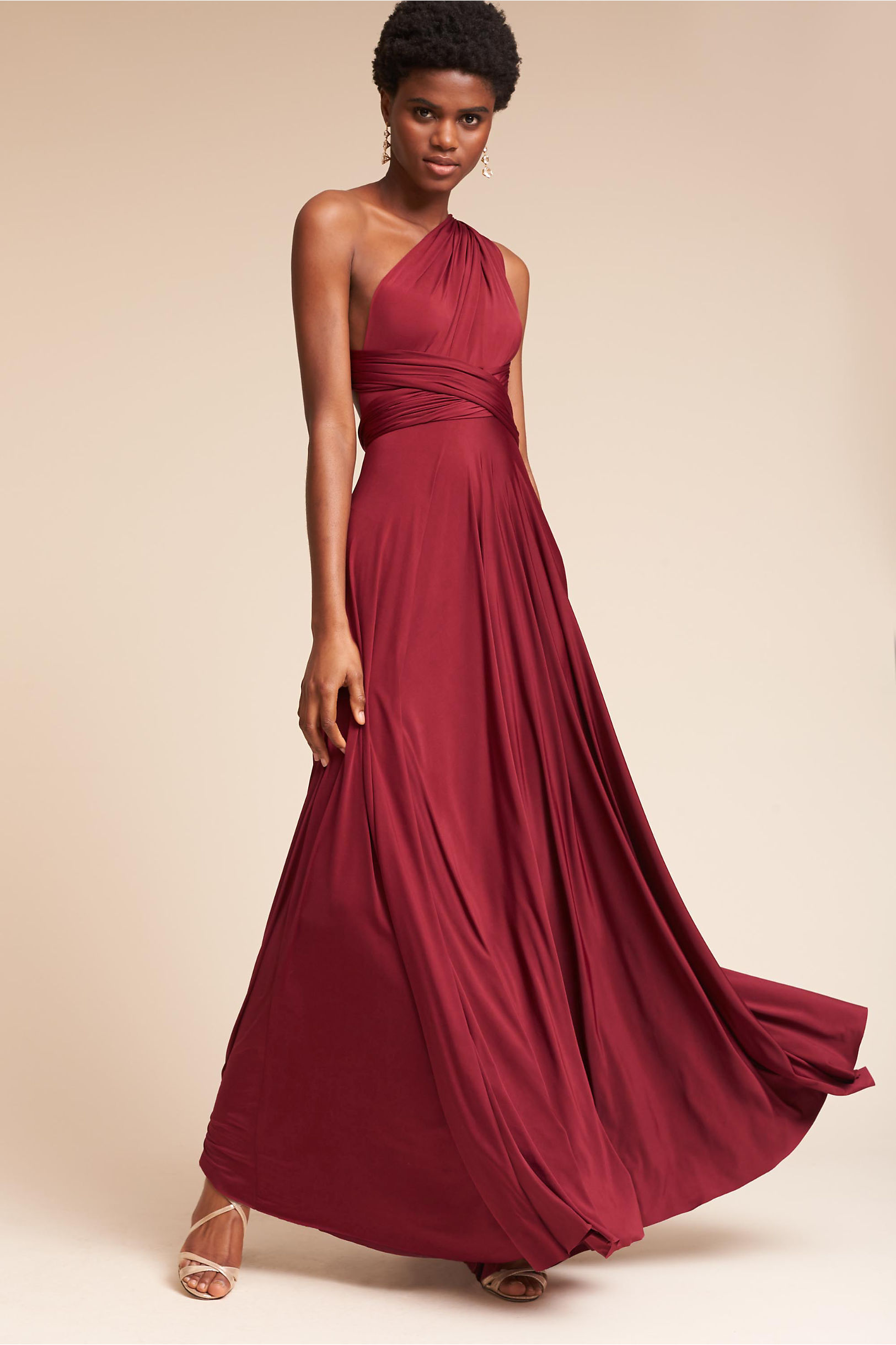 Burgundy red wine colored bridesmaid dresses bhldn ginger convertible maxi dress ombrellifo Choice Image