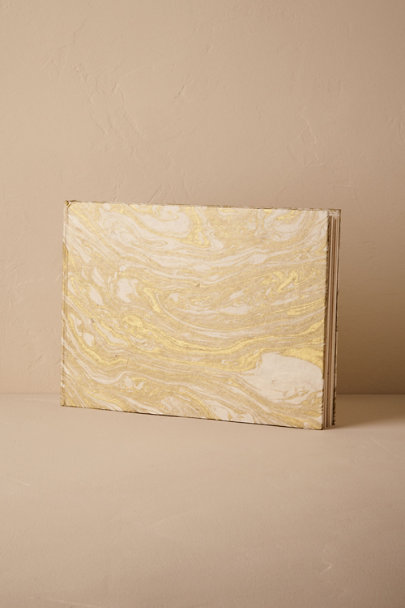 Gold Gilt Marbled Guestbook | BHLDN