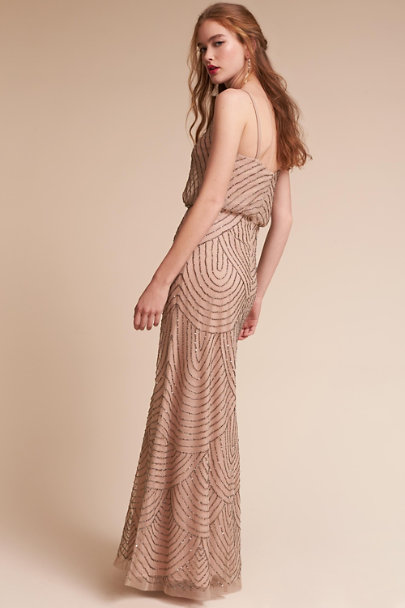 Adrianna Papell Taupe/Pink Eclipse Dress | BHLDN
