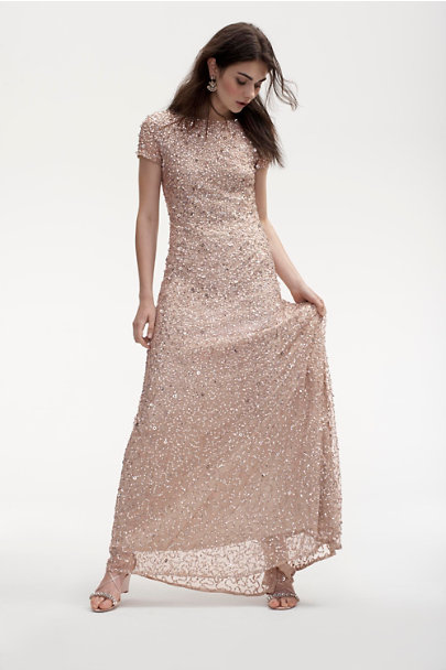 Adrianna Papell Champagne Lucent Dress | BHLDN