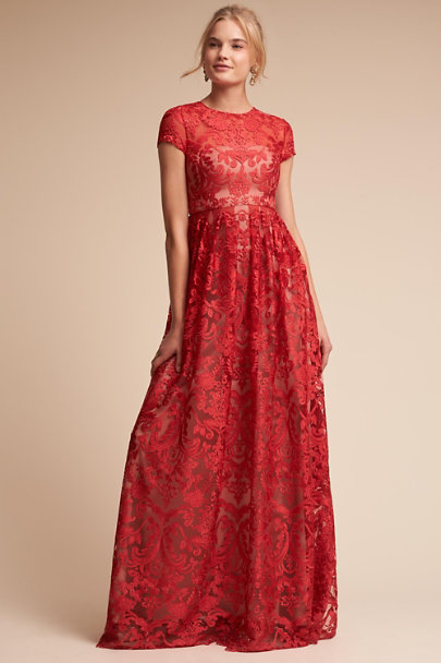 Monique Lhuillier Bridesmaids Sangria/Nude Lilo Dress | BHLDN