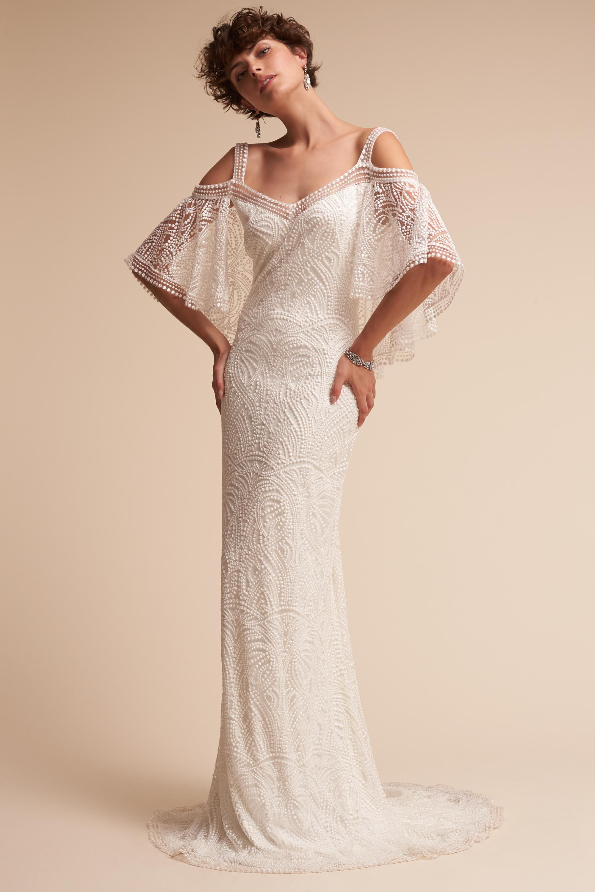 Lace with sleeves wedding dresses