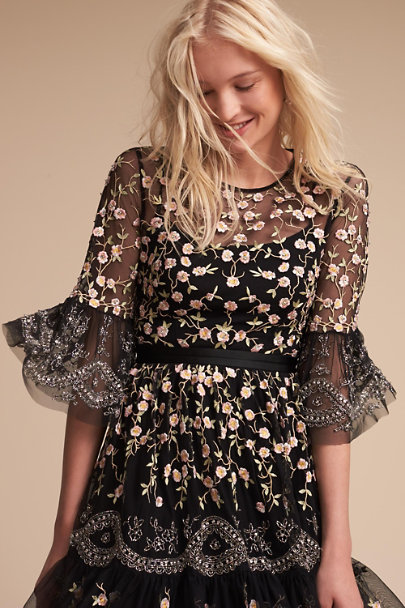 Needle & Thread Black Marimo Dress | BHLDN