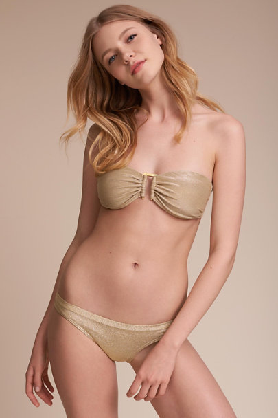 OndadeMar Gold Bondi Bikini Bottom  | BHLDN