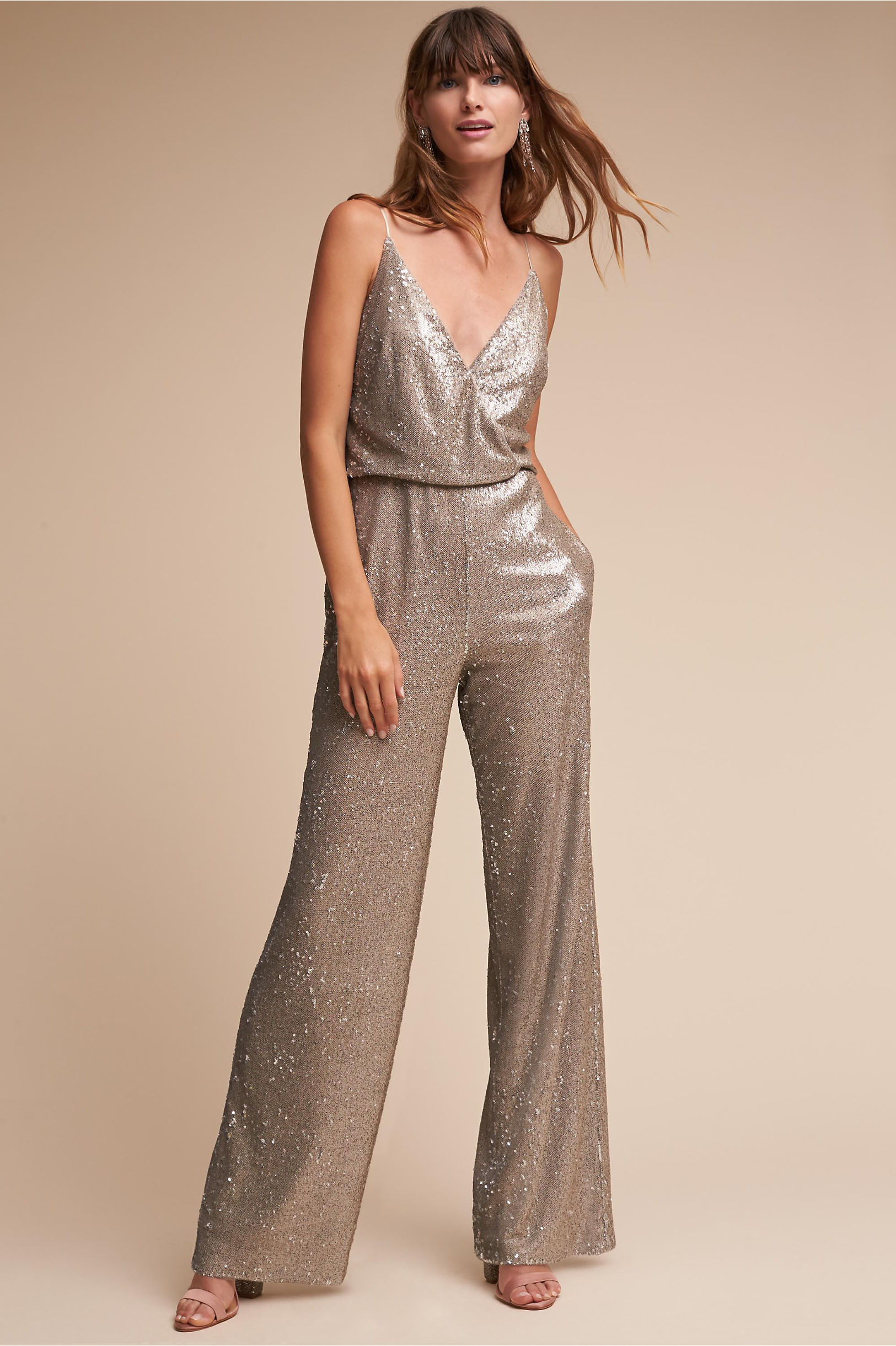 La Lune Sequin Jumpsuit Silver in Sale | BHLDN