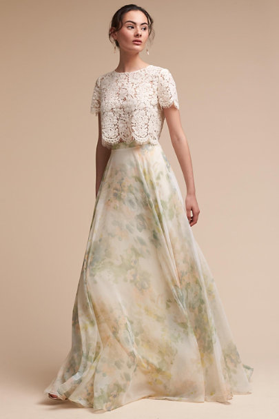 Jenny Yoo Ivory Sage Hampton Skirt | BHLDN