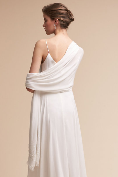 Adrianna Papell Ivory Annelise Pashmina Wrap | BHLDN