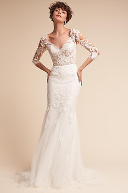 Long sleeve wedding dresses long cap sleeve bhldn pique gown pique gown junglespirit Gallery