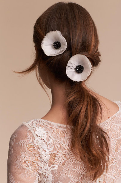 Ivory Anemone Hair Clips  | BHLDN