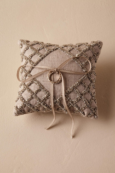 Silver Beaded Ring Pillow | BHLDN