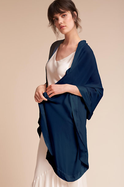 Ghost London Navy Zara Shawl | BHLDN