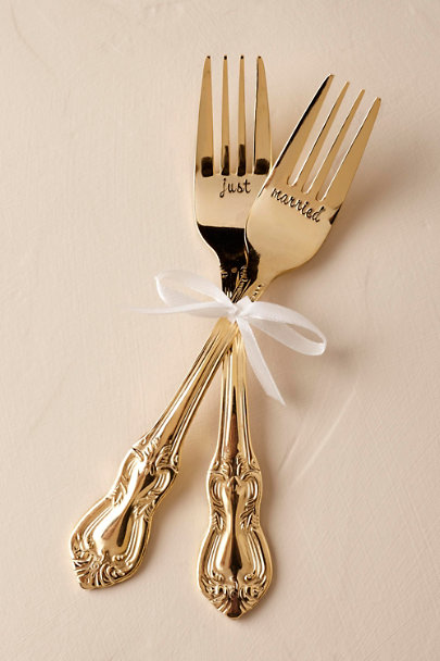 Gold Just Married Forks (2) | BHLDN