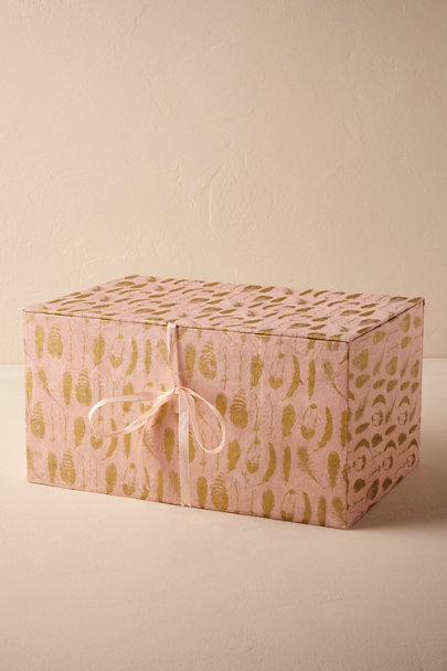 Pink Gilded Feather Gift Box | BHLDN