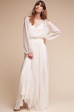 Long sleeve wedding dresses long cap sleeve bhldn for Long sleeve wedding dress topper