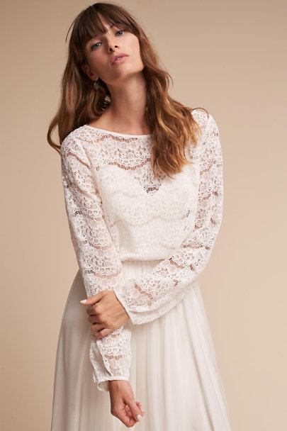 Madeleine Fig Ivory Maureen Topper | BHLDN