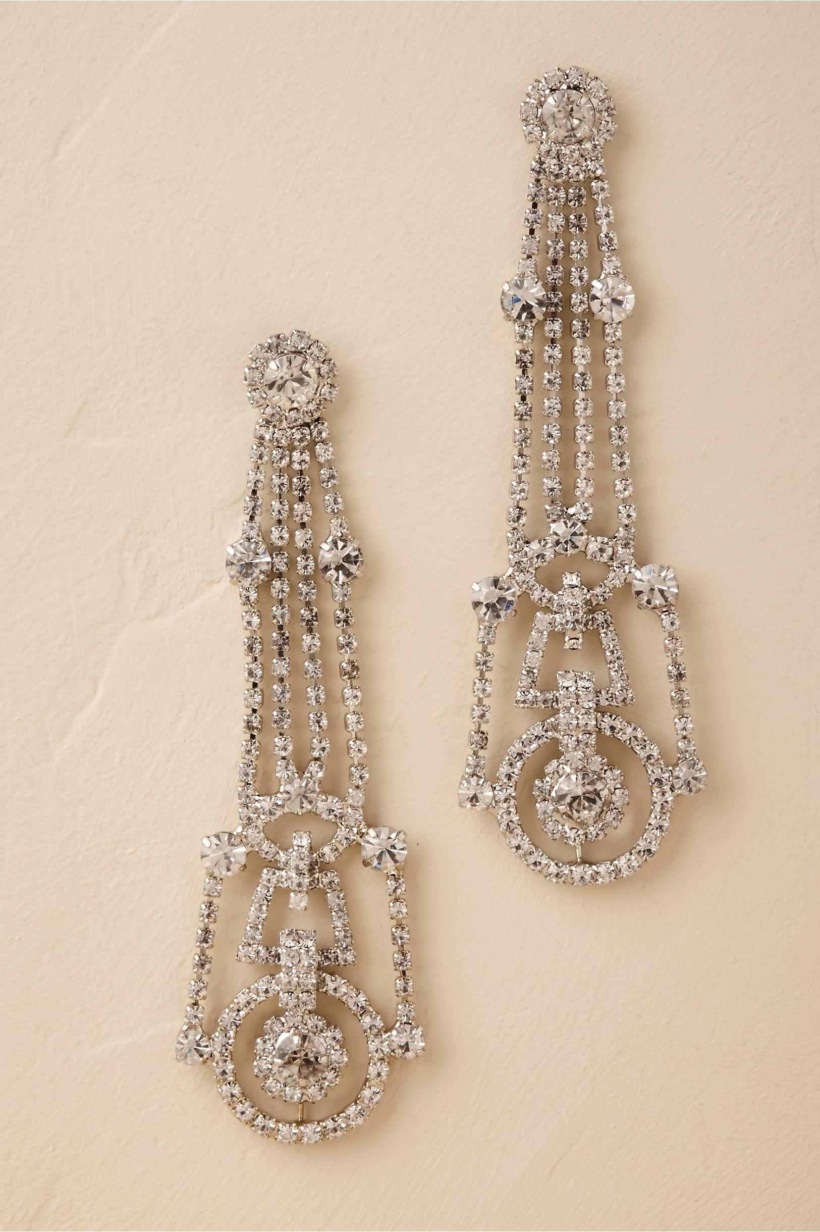 Silver Odeon Chandelier Earrings Bhldn