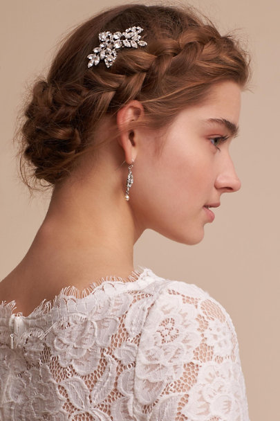 Jennifer Behr Silver Crystal Primrose Hair Comb | BHLDN