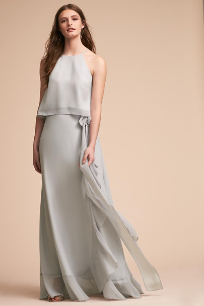 Donna Morgan Light Grey Etoile Top | BHLDN