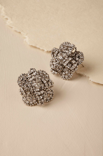 Silver Laurence Stud Earrings | BHLDN