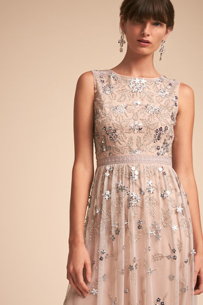 Adrianna Papell Silver/Nude Lisa Dress | BHLDN