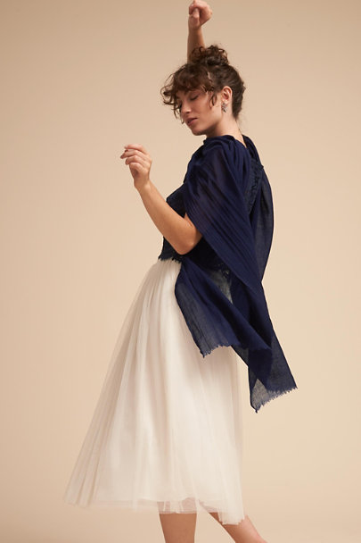 BHLDN Navy Rue Pashmina Wrap | BHLDN