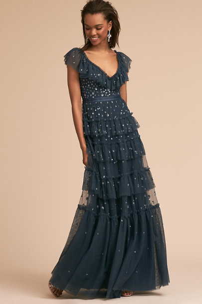 Needle & Thread Washed Indigo Mallory Dress | BHLDN