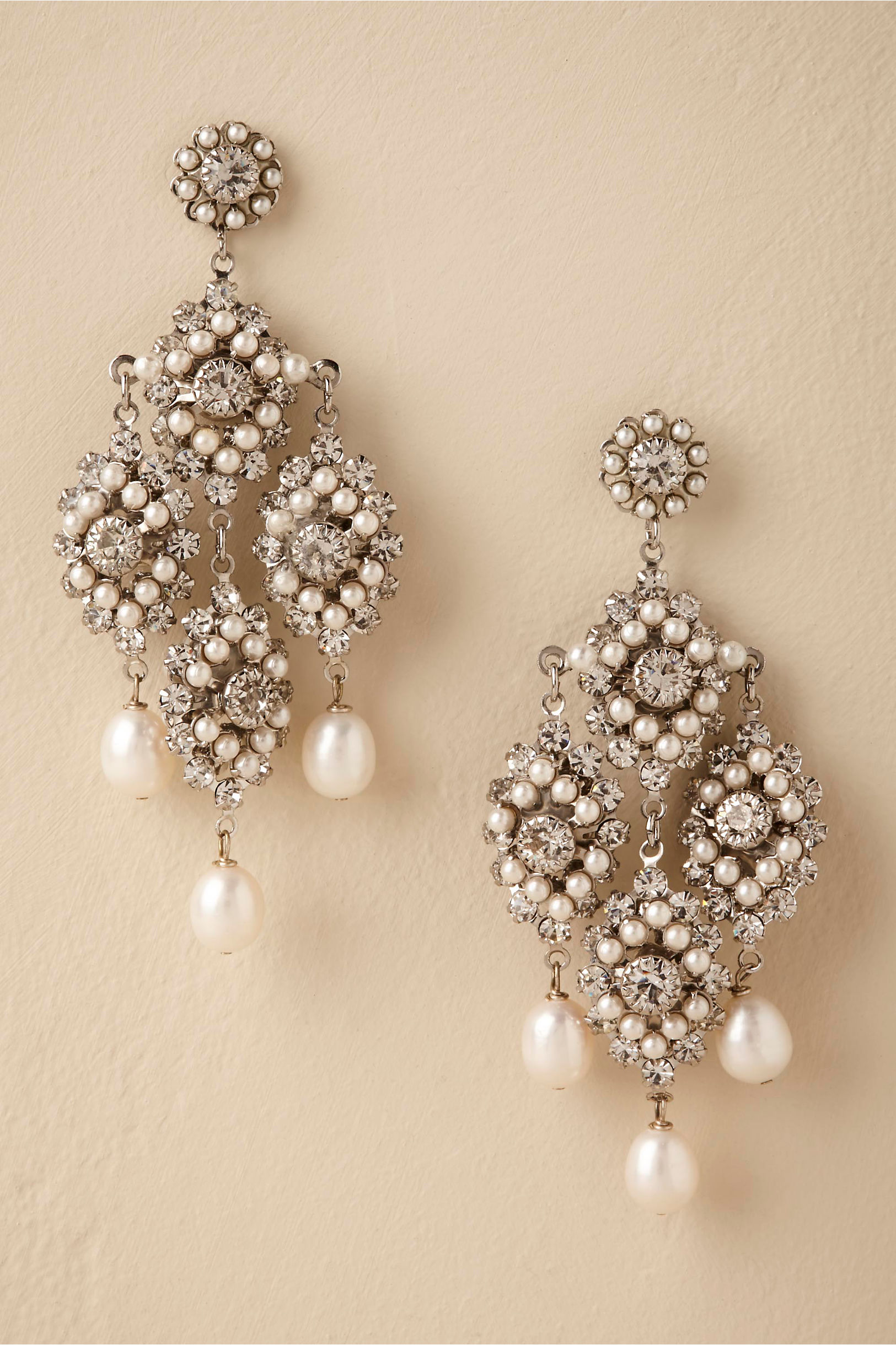 Lionetta Chandelier Earrings Silver in Bride | BHLDN