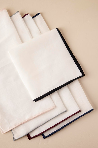 Tie Bar Black Tie Bar Linen Pocket Squares | BHLDN