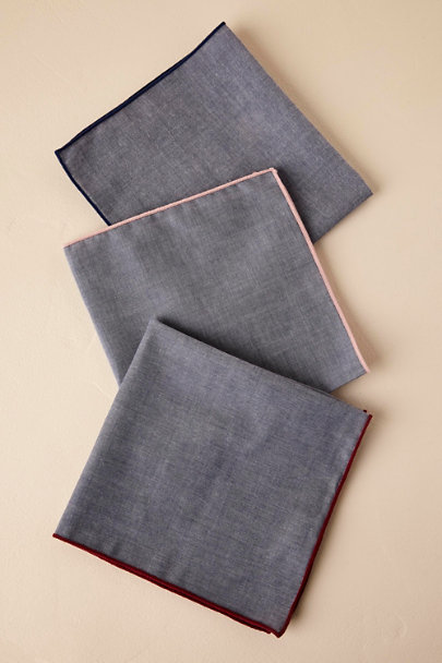 Tie Bar Navy Tie Bar Chambray Pocket Squares | BHLDN