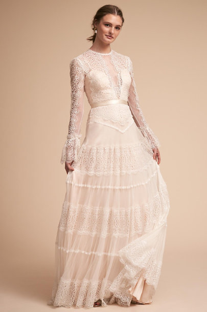 Jeneva gown ivory in sale bhldn for Long sleeve wedding dress for sale