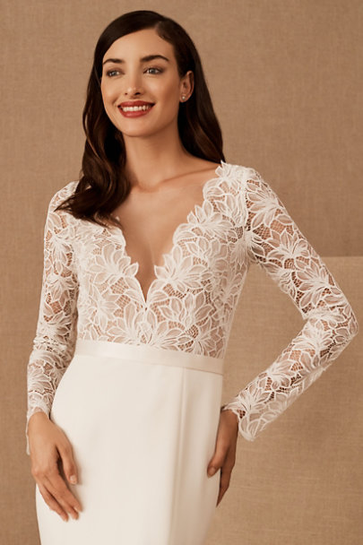 Madeleine Fig Ivory Fitted Silk Sash | BHLDN