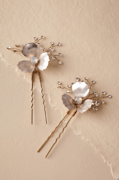 Untamed Petals Silver Helaine Hair Pins | BHLDN